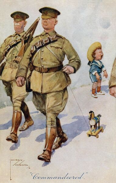 'Commandeered' - A postcard by Lawson Wood showing two solid-looking British soldiers commandeering a (now very upset) young lad's toy horse