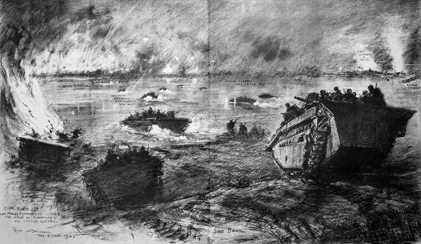 Sketch showing the night crossing of the River Rhine, made by British Royal Marine Commandos of the 21st Army Group, near Wesel in Germany, 23rd March 1945