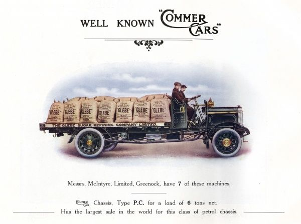 Commer 'Manchester'chassis for a 6-ton load. Date: 1914