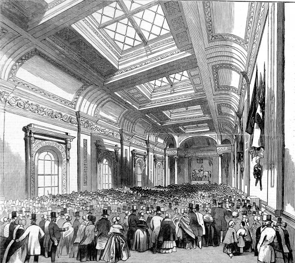Engraving showing a large body of the British public in the Commercial Room of Lloyd's of London, the insurance company, 1844