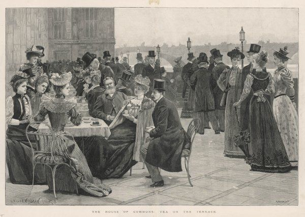 MPs and their guests take tea on the terrace of the House of Commons, Westminster