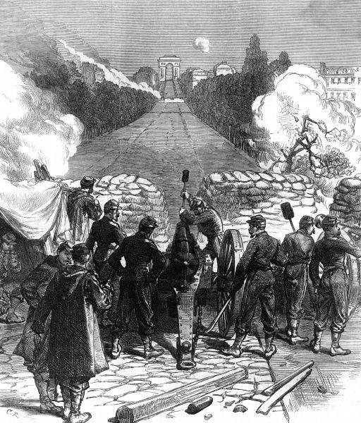 Government forces recapture Paris from the Communards : a field gun at the Pont de Neuilly commands the avenue leading to the Arc de Triomphe. Date: 1871
