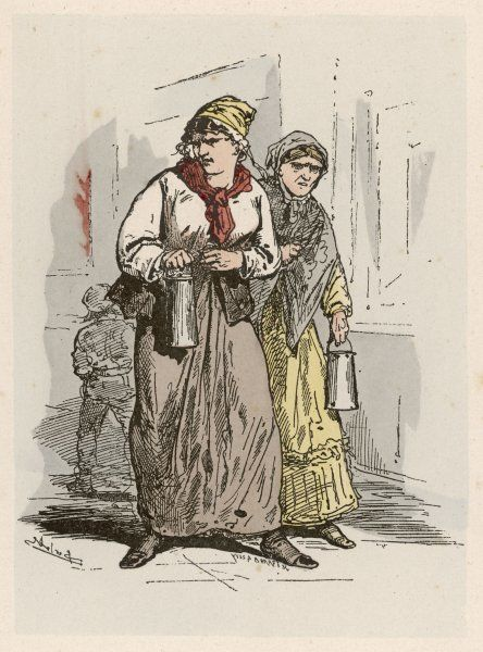 A pair of petroleuses, Parisian women who set fire to buildings in the city to protect the barricades from snipers and cover the Commune's retreat