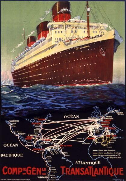 Poster advertising Compagnie Generale Transatlantique, the French shipping company, illustrated by the S