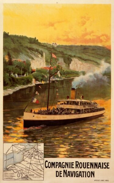 Poster advertising the French shipping line Compagnie Rouennaise de Navigation, and their steamer the Felix Faure, named after the president of the French Republic