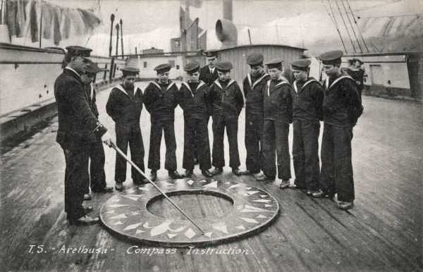 A group of boys aboard the Training Ship Arethusa receiving compass instruction