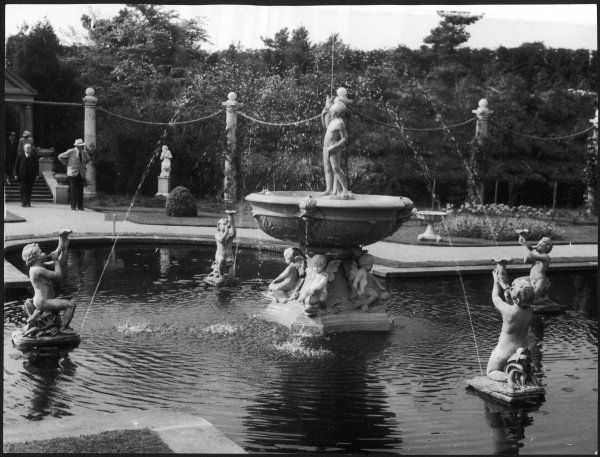 The fountains in the lovely Italian Garden in the Compton Acres Gardens at Canford Cliffs, Dorset, England