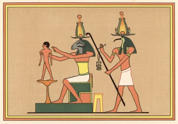 A man is born : Khnemu shapes him on a potter's table, Thoth measures his life-span