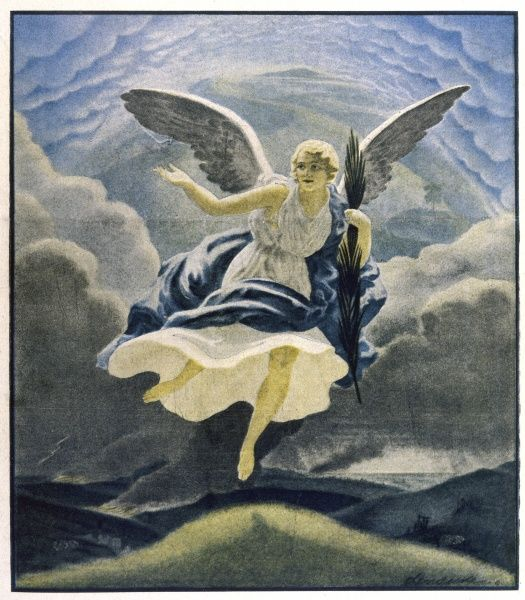 The Angel of Peace flies over the ravaged lands