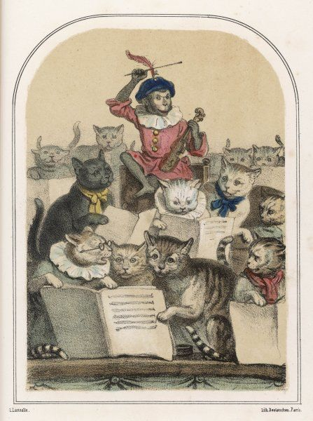 The 'Concert des Chats', a feature of the Foire de Saint- Germain : the animals miaow when the monkey gives the signal