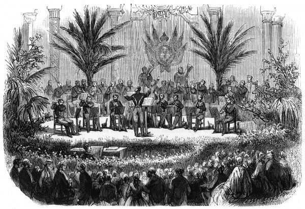 A band performs on stage at a benefit concert at Lyon. Date: 1866