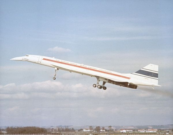 Brian Trubshaw pilots the British-built Supersonic transport aircraft, Concorde 002 on its maiden flight from Filton to Fairford, seven years before entering service. Date: 9 April 1969