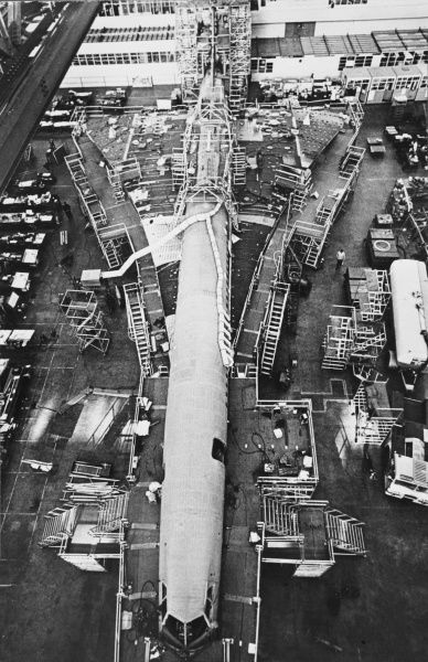 The first prototype Concorde, 001, taking shape at the St. Martin Sud-Aviation factory Toulouse, France. Date: 1967