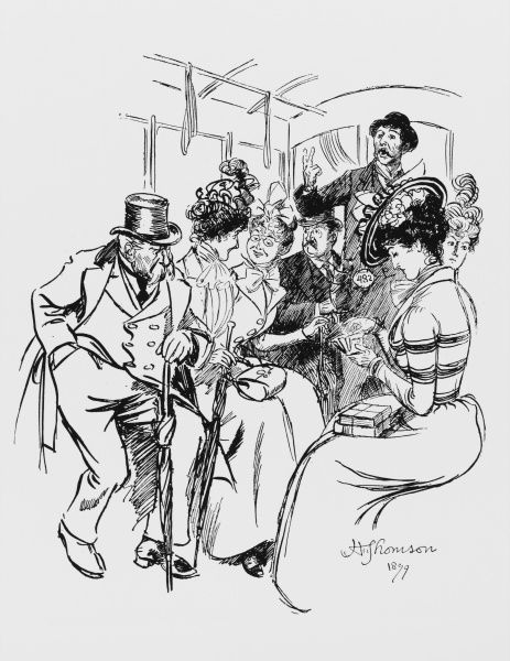 High class men and women aboard an Omnibus are asked by the conductor for their ticket money with a mixture of annoyance and acceptance