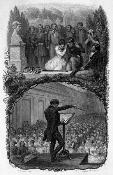A couple mourn the death of a loved one in the upper scene, whilst a conductor on a stage conducts a large choir below. Date: c.1850