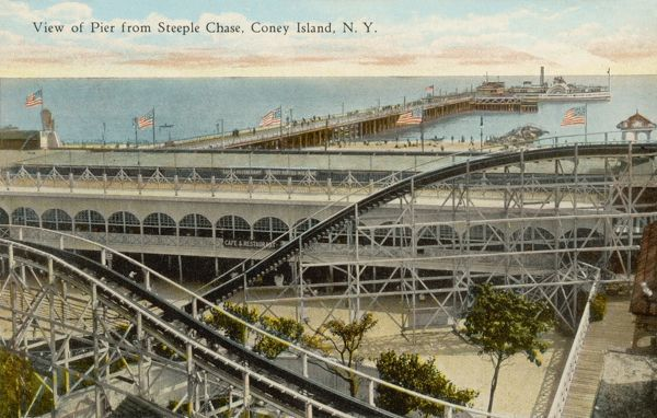 The pier seen from Steeplechase Park roller coaster, Coney Island, New York, America