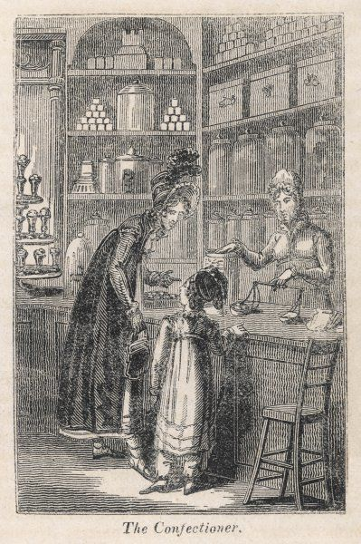 A young well-off mother spoils her little girl with sweets; the shop also sells jellies, sugar-plums and jams etc