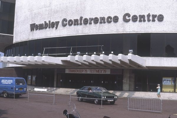 The exterior of Wembley Conference Centre, Greater London. Date: 1979