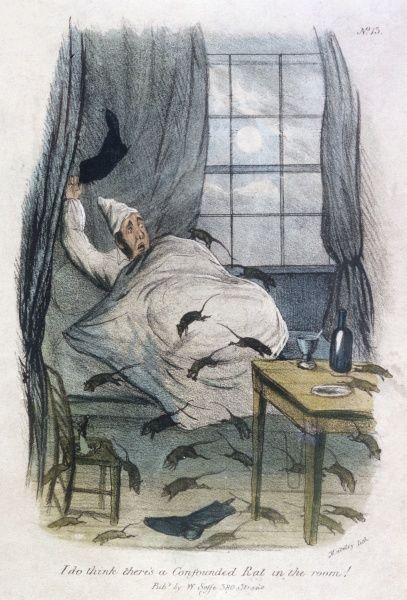 """I DO THINK THERE'S A CONFOUNDED RAT IN THE ROOM!"" Date: Circa 1840"