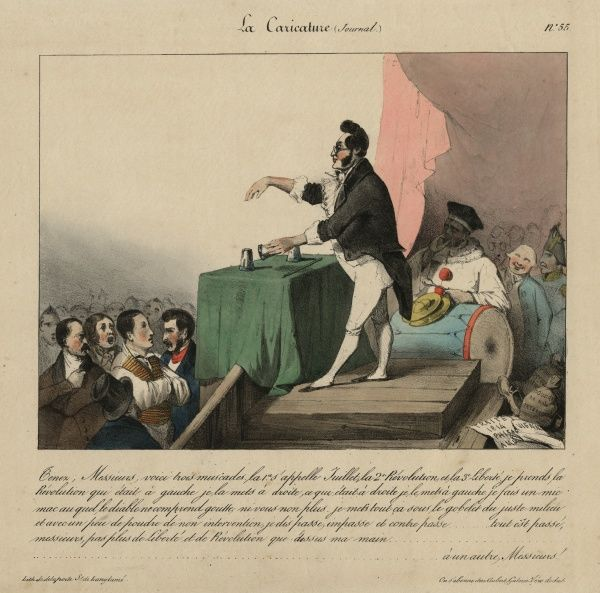Louis-Philippe, proclaimed 'citizen king' of France at the July revolution of 1830, is shown as a street conjuror, entertaining the crowds. HPG/8/2/1 (xi)