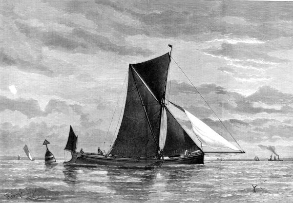 Engraving of 'The Conqueror' rounding the West Oaze buoy in the Clipper Barge Match of the 18th September 1879, from the Illustrated Sporting and Dramatic News