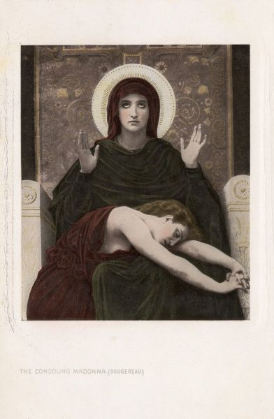 The Consoling Madonna (Vierge Consolatrice) by William-Adolphe Bouguereau (1825-1905) -- the Virgin Mary, seated on a throne, comforts a distressed woman. Date: circa 1870s