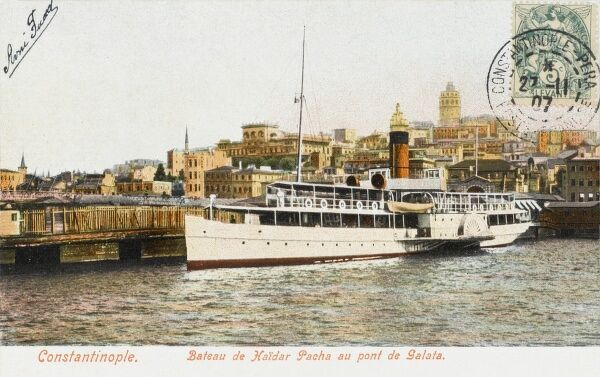 The Ferryboat from Haydar Pasa at the Galata Dock/Station/Bridge at Constantinople, Turkey