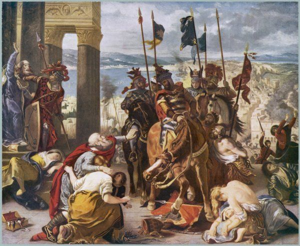 FOURTH CRUSADE : The Crusaders under Baudouin take Constantinople