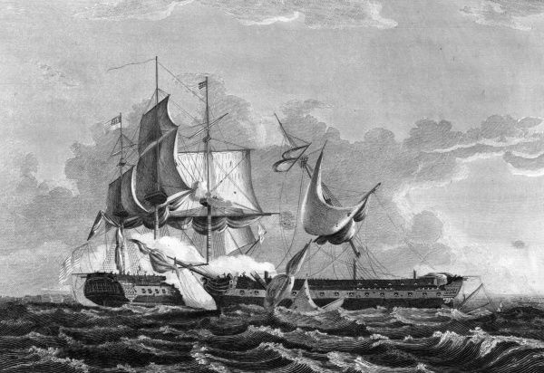 The American warship 'Constitution' - known as 'Old Ironsides' - dismasts the British 'Guerriere', damaging her so severely that she is not worth towing back to port. Date: 19 August 1812