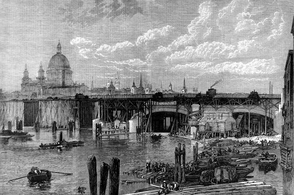 Engraving of the construction of Blackfriars Bridge, London, viewed from the south bank of the river looking towards St. Pauls Cathedral. This iron and steel bridge, designed by Joseph Cubitt and H Carr, opened in 1869 and survives to this day