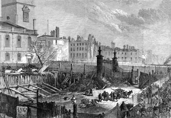 Engraving showing the worksite of the Holborn Valley Viaduct, which was being built in 1867
