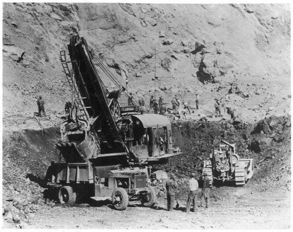 A 'Caterpillar' engaged in excavating the approach cut to one of the diversion tunnels on the Hoover Dam, which was completed in 1935