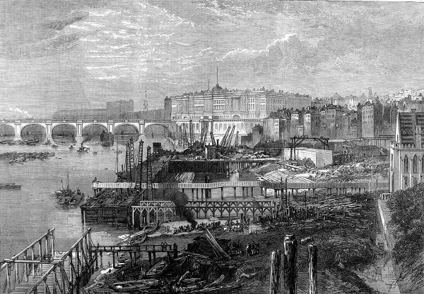 Engraving showing the construction of the Thames Embankment at Temple Gardens, London, under way in 1865