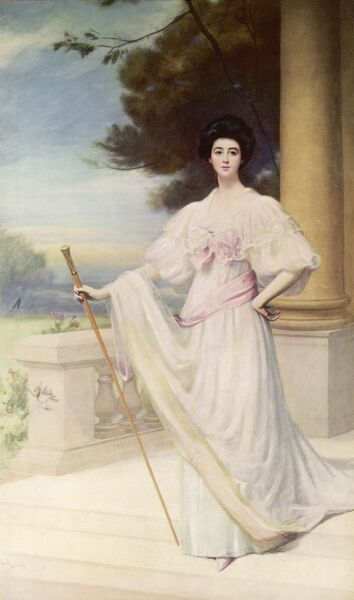 Portrait of Consuelo Vanderbilt (1877 - 1964), American heiress and first wife of Charles Spencer-Churchill, 9th Duke of Marlborough. She married the duke in 1895 after being coerced into the marriage by her mother. After her divorce in 1920