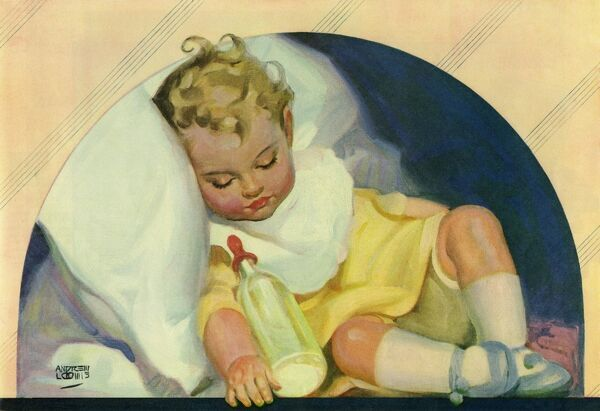 """Contented baby sleeping by Andrew Loomis. ""Happy hours in babyland"" by Andrew Loomis (1892-1959), an American author and illustrator. From a contemporary colour advertisement."" Date: 1924"