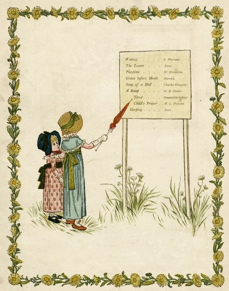 Contents page design, A Day in a Child's Life. Showing two little girls, the taller one pointing to the list of contents with a rolled red parasol.  first published 1881