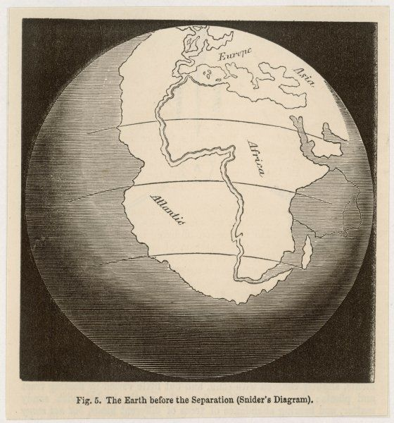 Snider's conception of how Earth's continents were originally one - proposed long before Wegener, longer still before it was accepted by the scientific establishment