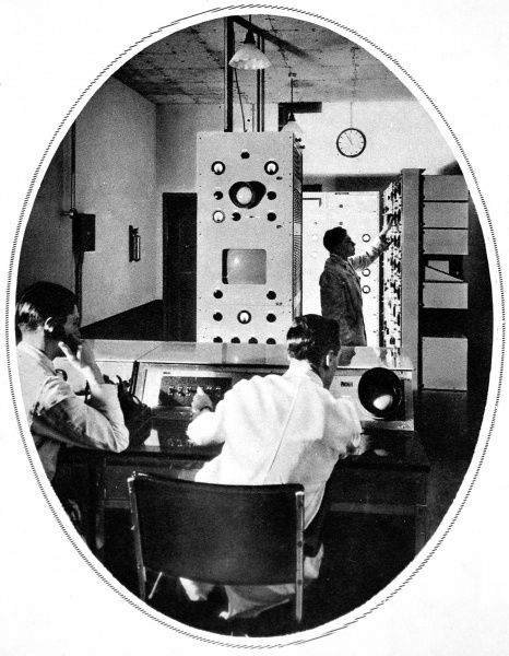 Scene in the heart of the control room of the Baird apparatus. Special tests of reception of the B.B.C from Alexandra Palace of synchronised television and speech were held at Olympia by a committe of the Radio Manufacturers' Association