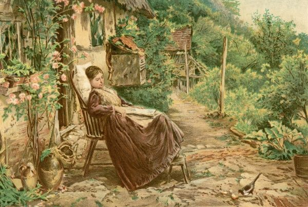 A convalescent woman relaxes in her garden