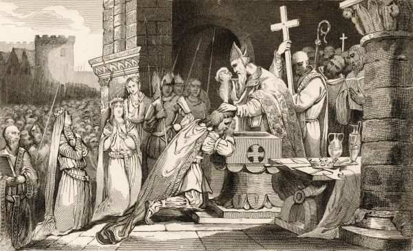 Clovis, Merovingian King of the Franks, defeats the Alemanni at Tolbiac, near Koln, and consequently converts to Christianity as he promised his wife Clothilde