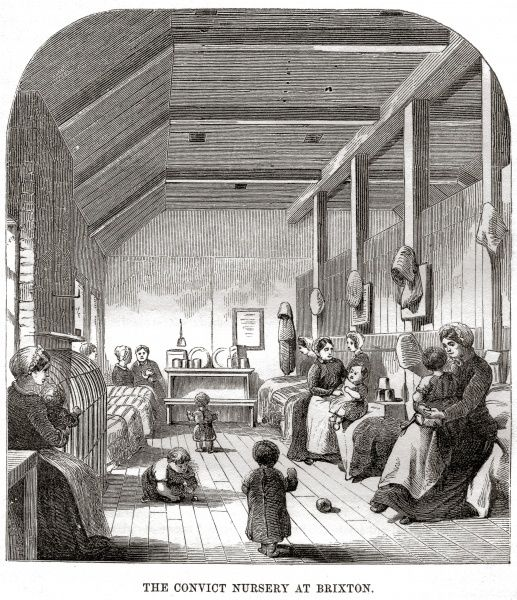 Convict nursery at Brixton Prison. Date: 1862