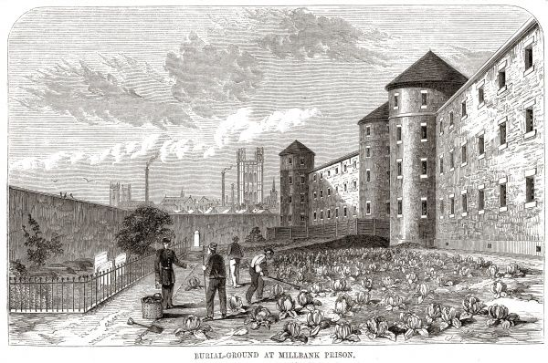 The convicts' burial ground at Millbank prison, London. Date: 1862