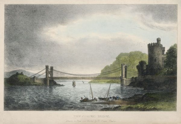 The Conway ( Conwy ) Castle Bridge a steel suspension bridge built by Thomas Telford (1757- 1834) between 1822 and 1826