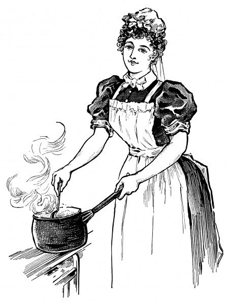 A cook stirring the contents of a pan