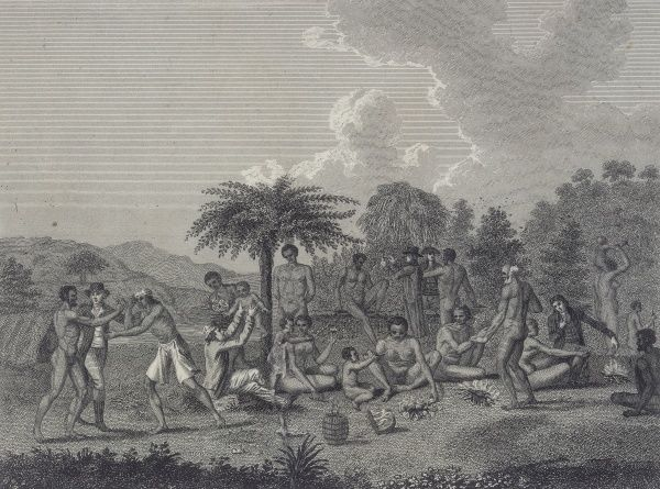 Men of Cape Maria van Diemen, at the very north of North Island, entertain some French travellers to an alfresco meal