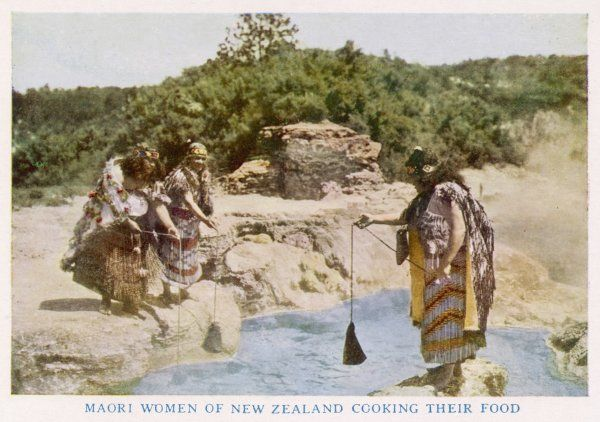 Maori women in New Zealand cooking food in a hot spring