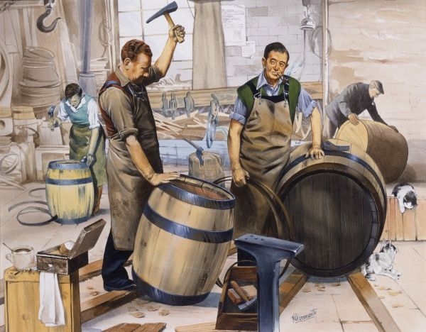 Four coopers hard at work in their workshop making traditional wooden barrels. Painting by Malcolm Greensmith