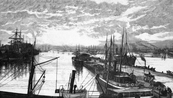 Steamers and sailing vessels moored at the quays at Kvaesthusbroen, in Kjobenhavn harbour. Date: 1888