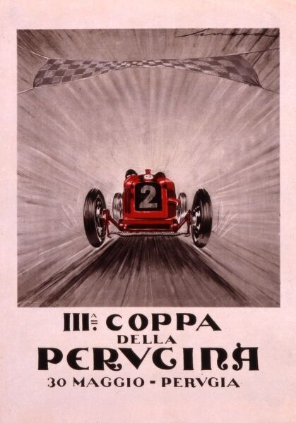 Poster for the 3rd Coppa della Perugina motor race in Italy with a car passing the chequered flag