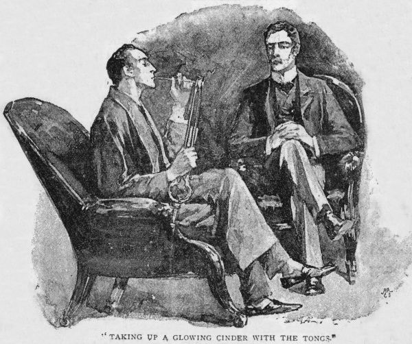 Holmes and Watson - he lights his pipe from a glowing cinder from the grate